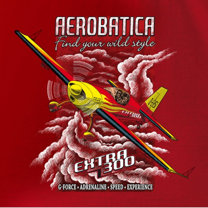 T-Shirt with aerobatic aircraft EXTRA 300 RED - Size: XXL
