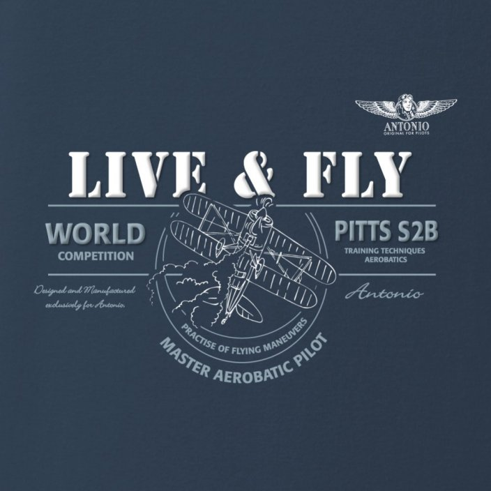 T-Shirt with aerobatic biplane PITTS S-2B - Size: S