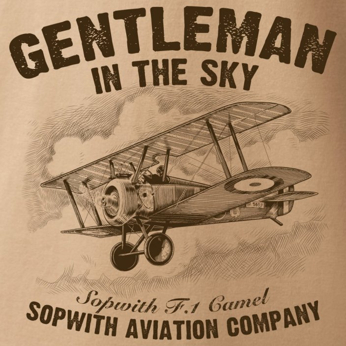 T-Shirt with a biplane SOPWITH F-1 CAMEL
