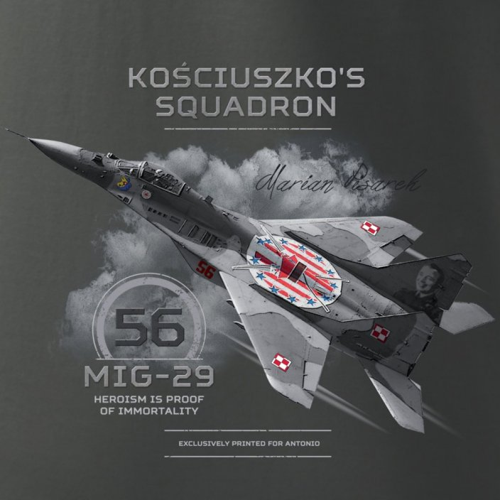 T-shirt with fighter MIG-29 KOSCIUSZKO'S SQUADRON #56 PLN - Size: M