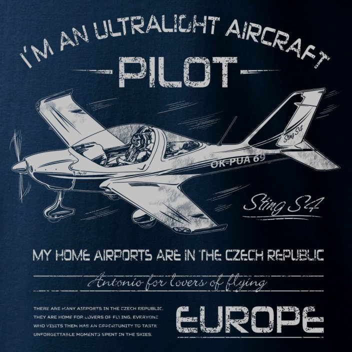 T-Shirt with ultralight aircraft STING S-4 - Size: S