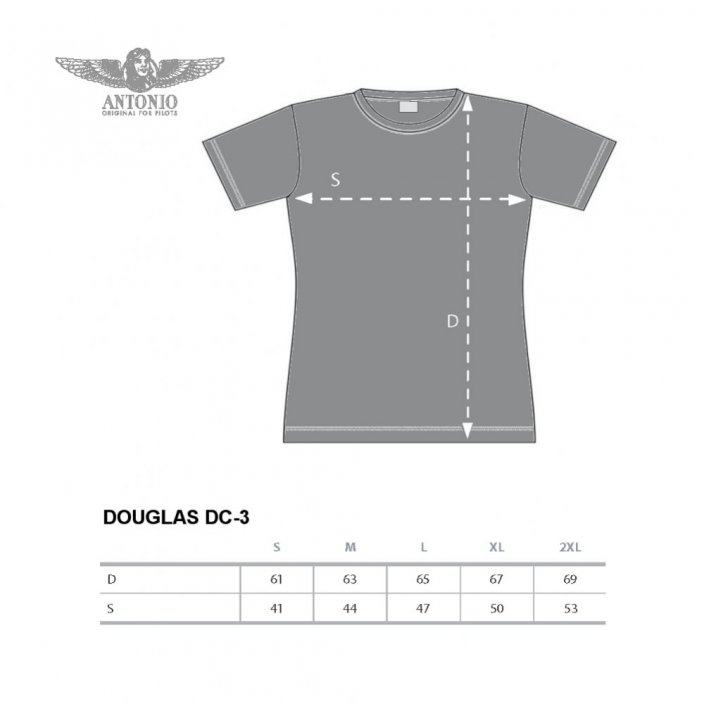 Women T-Shirt with twin-engined plane DOUGLAS DC-3 (W) - Size: XXL
