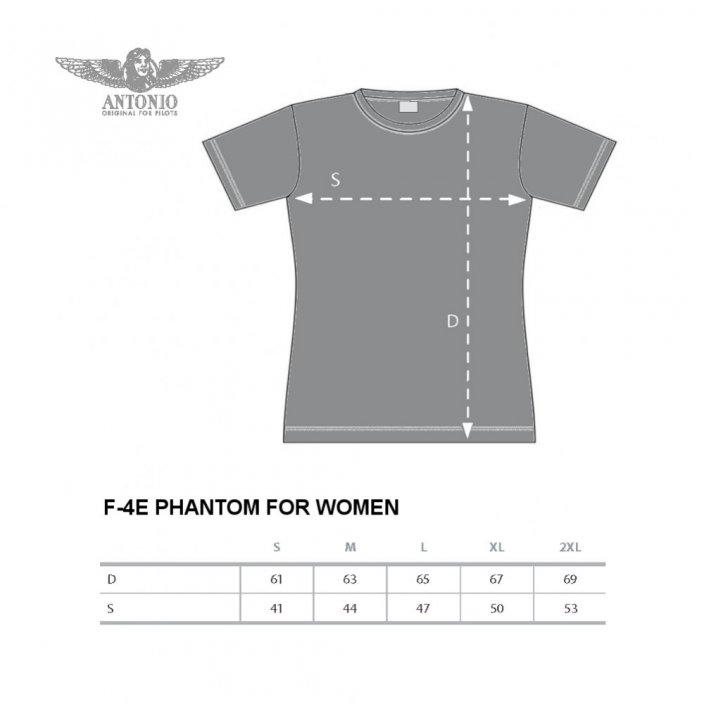 Women T-shirt with fighter aircraft F-4E PHANTOM II (W) - Size: L