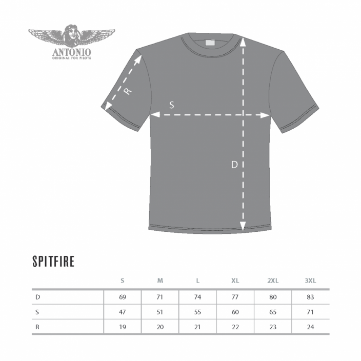 T-Shirt with fighter airplane SPITFIRE Mk VIII.