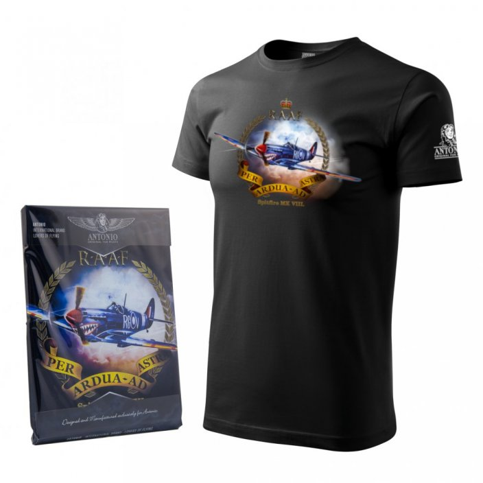 T-Shirt with fighter airplane SPITFIRE Mk VIII. - Size: S