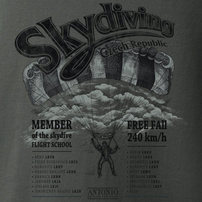 T-shirt adrenaline SKYDIVING DROPZONE - Size: S