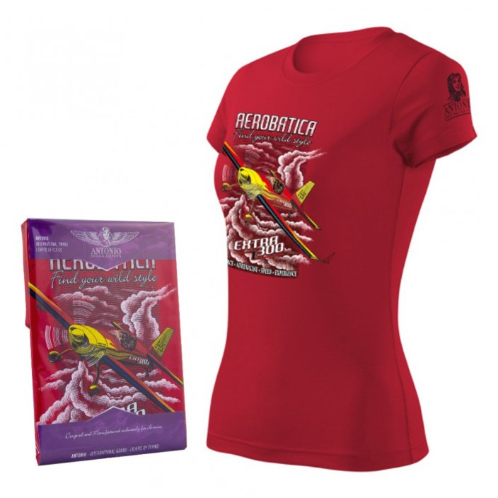 Women T-Shirt with aerobatic aircraft EXTRA 300 RED (W)