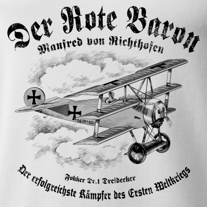 T-Shirt with Fokker triplane DR.1 DREIDECKER