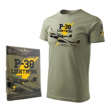 Warplane of the flying aces! Tshirt with the aircraft P-38 LIGHTNING.