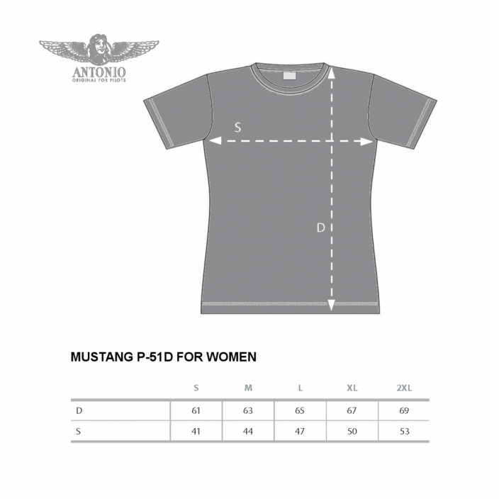 Women T-Shirt with warplane MUSTANG P-51 (W) - Size: M