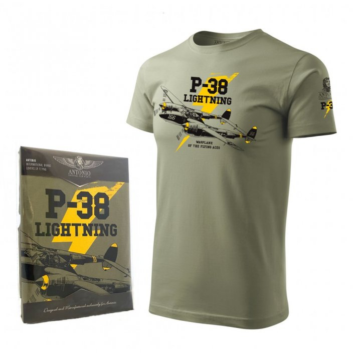 T-shirt with fighter aircraft P-38 LIGHTNING - Size: S