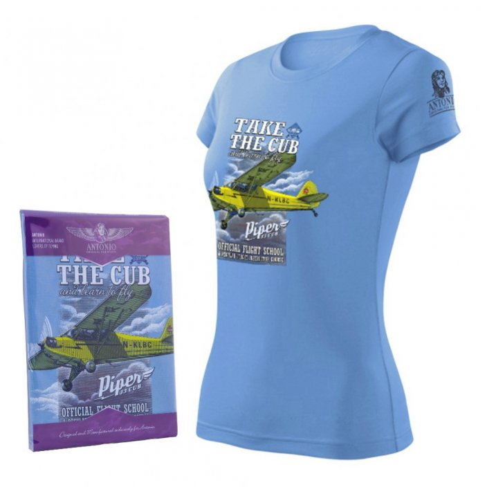 Women T-Shirt with airplane PIPER J-3 CUB (W)