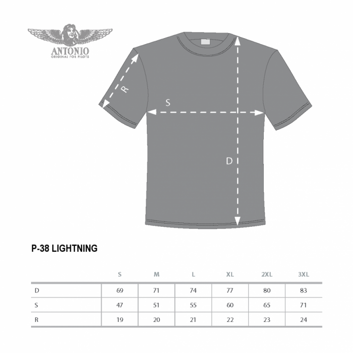 T-shirt with fighter aircraft P-38 LIGHTNING