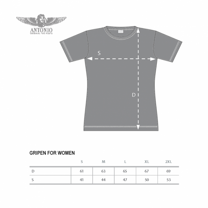 Women T-Shirt with fighter JAS-39/C GRIPEN (W) - Size: XL