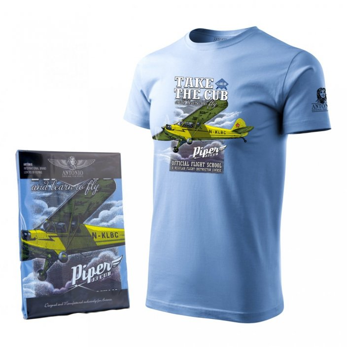 T-Shirt with airplane PIPER J-3 CUB - Size: M