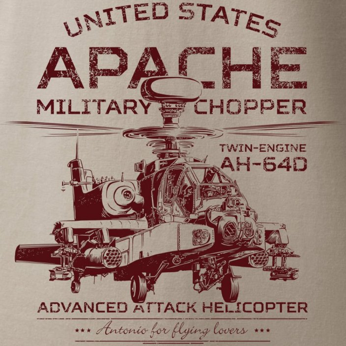 T-shirt with combat helicopter APACHE AH-64D - Size: XXL