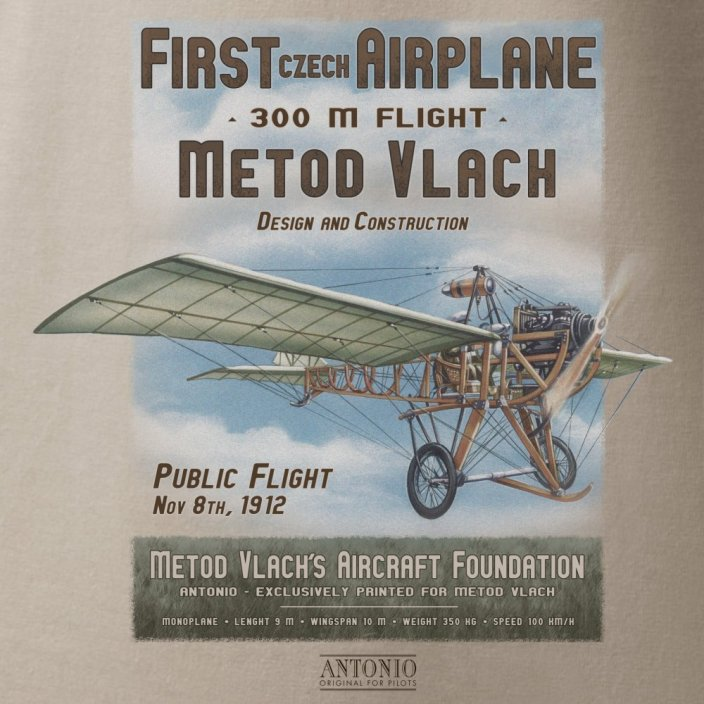 T-Shirt of constructer and airman METOD VLACH