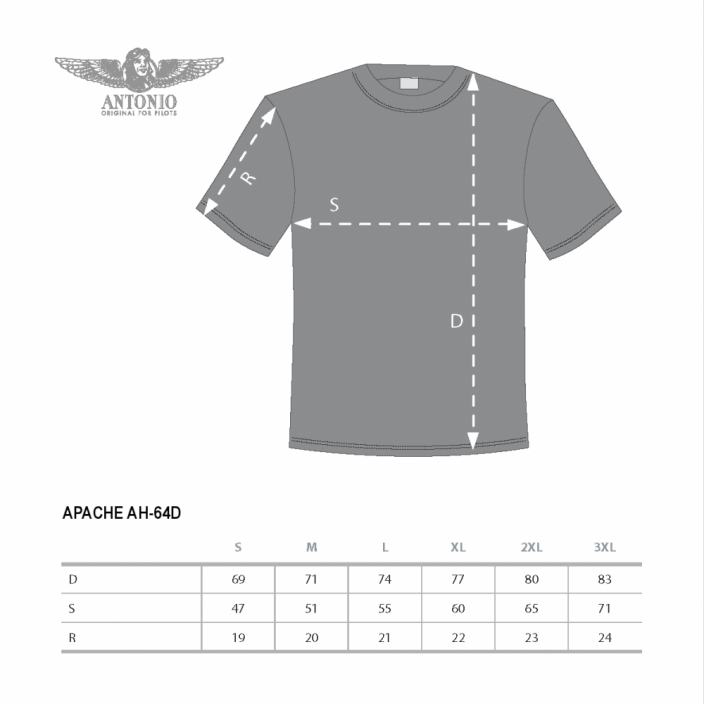 T-shirt with combat helicopter APACHE AH-64D